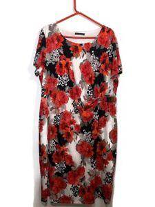 David Emanuel Shift Dress Red Floral Short Sleeves Lined Round Neck UK Size 22