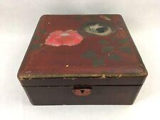 Vintage Hand Painted Peonies Black Japanese Lacquerware Box Trinket Jewelry Box