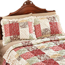 Worthington Patchwork Quilted Ruffled Pillow Sham, Red, by Collections Etc