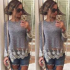 Damen Langarmshirt Pulli Spitze Sweatshirts Pullover Tunika Oberteil Bluse Shirt