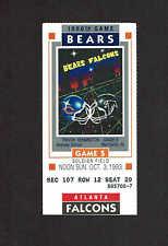 1993  CHICAGO BEARS  vs  ATLANTA FALCONS Ticket Stub