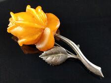 SBM Butterscotch Bernstein Brosche 835 Silber Silver Amber 琥珀 Rose Brooch