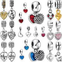 European 925 Heart pendant sterling charm bead for silver bracelet necklace US-B