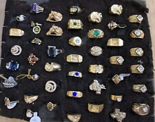 Gold Tone Plate 18Kge Gem 5-10 Heavy Vintage Mod Jewelry Ring Lot 45 Mens Womens