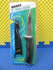 """Baker 4"""" Stainless Steel Fillet Knife Built-In Knife Sharpener #BFK4"""