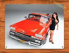 "TIN-UPS TIN SIGN ""Red Convertible  Car Calender Girl"" Vintage Pin Up Garage Auto"