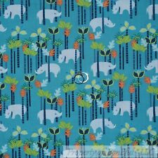 BonEful Fabric Cotton Quilt Aqua Blue Rhino*ceros Animal Green Tree Leaf L SCRAP