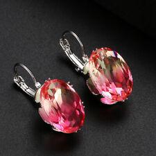Wedding Jewelry Oval Pink Bi Color Tourmaline Gems Silver Dangle Hook Earrings