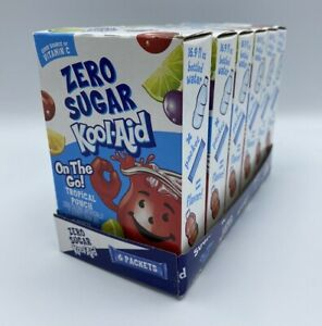 6 Boxes Kool-Aid Zero Sugar Tropical Punch SINGLES TO GO Drink Mix 0 Calories