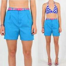 1960's Vintage Women's Turquoise Blue Pleated High Waist Shorts Jazzie Size 6 S