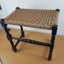 Vintage Wooden Wicker Woven Rattan Style Stool - Country Cottage 49x47x32cm