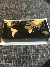 "Ercolano Luxury Wood  Inlaid Card Box Handmade Lined Black Microsuede 11""L 3""W 5"
