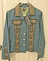 NWT BERER By Takako Sakon Womens Snap Up Denim Jacket with Embellishments-Sz M