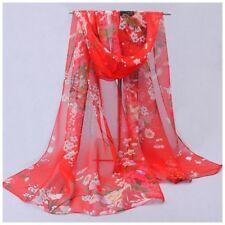 destockage foulard écharpe neuf 100% mousseline de soie fleurs fond rouge