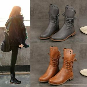 Womens Vintage Mid Boot Ladies Winter Casual Riding Chunky Booties Fur Liner