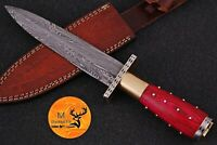 HAND FORGED DAMASCUS STEEL BOOT DAGGER KNIFE WITH BRASS & WOOD HANDLE - AJ 991
