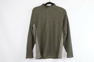 Merrell Mens Medium Half Zip Outdoor Hiking Trail Fleece Pullover Sweater Green