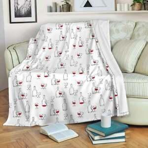 Funny Glass Of Wine E Pattern Wine Through Wine Drink Wine Lover Fleece Blanket