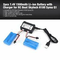 2pcs 7.4V 1500mAh Li-ion Battery with Charger for RC Boat Skytech H100 Syma xY