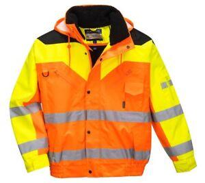 Portwest S464 Contrast Plus Bomber Jacket Waterproof Hi Vis Hood Safety Workwear