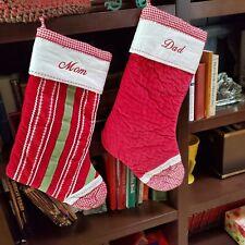 Pottery Barn Set of 2 Velvet Gingham Christmas Stockings Personalized Mom & Dad