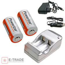 2x Powerizer 800mah 16340 CR123A Rechargeable li-ion Battery + Travel Charger