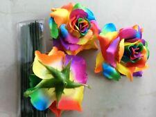 """15 HEAD RAINBOWS SILK FLOWER ROSE FAKE ARTIFICIAL WEDDING CRAFT VALENTINE 4"""""""