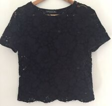 Topshop Black Lace Blouse Size 10