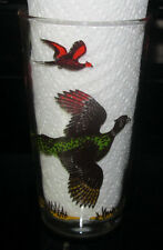 Vintage Hazel Atlas Pheasant Hunting Bird Tumbler Glass Beverage Barware
