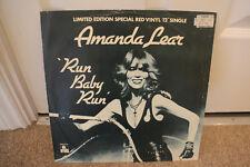 "12"" VINYL SINGLE, AMANDA LEAR, RUN BABY RUN, RED DISC,LTD EDITION, EXC COND"