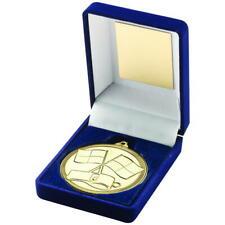 Blue Velvet Box And Medallion Referee Trophy ,89mm, FREE Engraving (TY29)TD