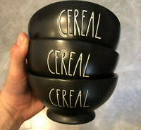 Rae Dunn CEREAL Bowls BLACK Set Of 3 Cereal Or Ice Cream LL VHTF *Brand New