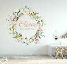 Personalised Name Custom Text Nursery Wall Sticker Rose Flower Wreath Baby Decor