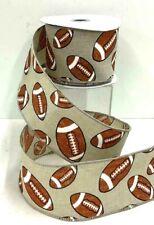 """Football Linen Wired  Ribbon~Beige, White,Brown,Orange,Glitter~2 1/2"""" W x 10 yd"""