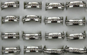 Wholesale Lots 36pcs Filled Rhinestone Jewelry Trendy Stainless Steel Mens Rings