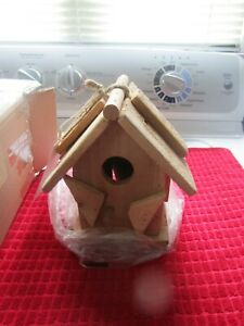 HANDCRAFTED BIRD HOUSE ~ BRAND NEW IN BOX ~ SOLID CAMPHOR PIECES ~ VINTAGE LOOK