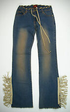 Cello Blue Jeans Faux Leather Fringe Womens Size Medium Made in USA