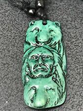 "Tribal Indian Bears Yak Bone Mix Turquoise Charm Adjustable Rope 16"" Necklace"