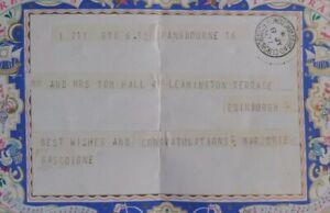 1937 Post Office Greetings Telegram, Edinburgh, UK