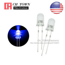 100pcs 5mm LED Diodes Water Clear Blue Light Transparent Round Top USA