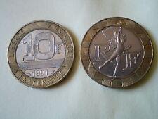2 PIECES de 10 FRANCS GENIE DE LA BASTILLE de 1991