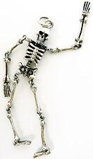 Silver Mens Big Pendant Dangling Skull Skeleton Sterling 925