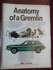 1973 Print Ad AMC Gremlin Hatchback Car Automobile ~ The Anatomy of a Gremlin