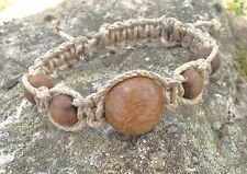 Bracelet Shambala homme Femme * lin naturel  & perles bois * Shamballa Fait Main