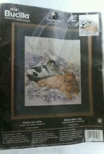 "Bucilla ""Cats on Toile"" Counted Cross Stitch Kit #43197 Nancy Rossi Tabby Cat"