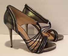 L.A.M.B. Pumps Sandals Heels Open Toe Leather Pewter Black 10 M Worn Once  $325