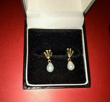 REDUCED Sweet 9ct Yellow Gold Cultured Pearl Pierced Drop Earrings, boxed