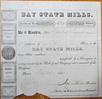 Bay State Mills 1857 Stock Certificate - Boston, Massachusetts Mass MA