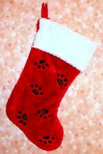 New~Cute Red Plush Dog Cat Pet Christmas Stocking Paw Prints~Slight Flaw