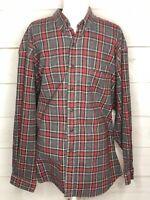 Vintage Eddie Bauer Long Sleeve Tartan Plaid Flannel Shirt Gray Red XXL 2XL